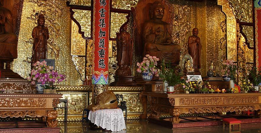 row of buddha temple penang