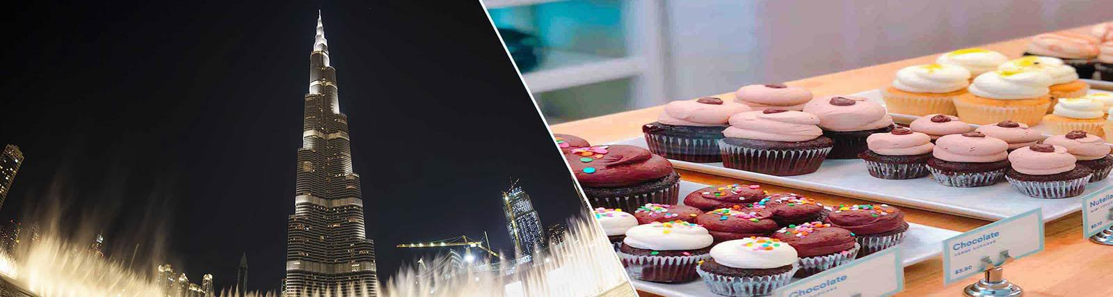 Burj khalifa with cafe pastry